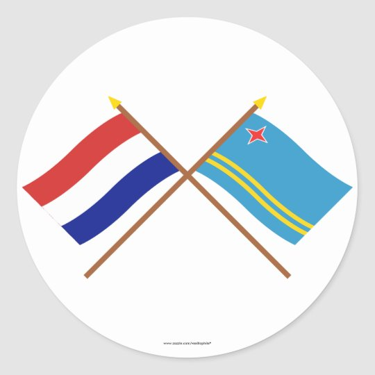 Crossed flags of Holland and Aruba Classic Round Sticker