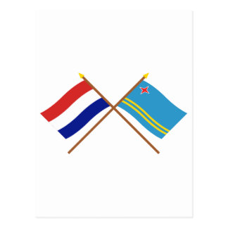 Crossed flags of Holland and Aruba Postcard