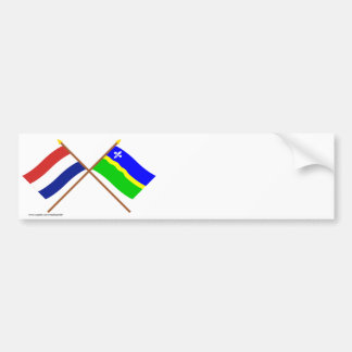 Crossed flags of Holland and Flevoland Bumper Stickers