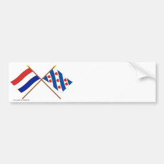 Crossed flags of Holland and Friesland Bumper Sticker