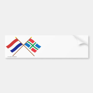 Crossed flags of Holland and Groningen Bumper Stickers