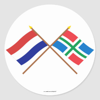 Crossed flags of Holland and Groningen Classic Round Sticker