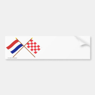 Crossed flags of Holland and Noord-Brabant Bumper Stickers