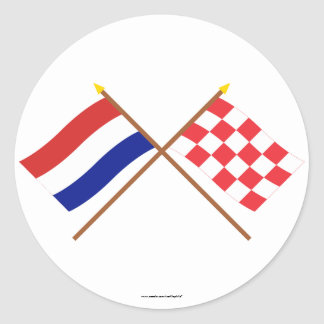 Crossed flags of Holland and Noord-Brabant Classic Round Sticker