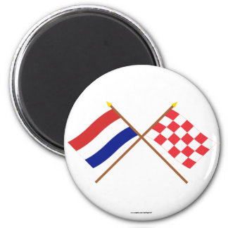 Crossed flags of Holland and Noord-Brabant Fridge Magnets