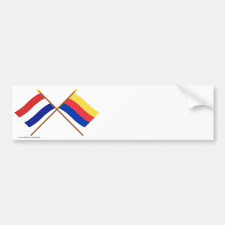 Crossed flags of Holland and Noord-Holland Bumper Stickers