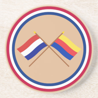 Crossed flags of Holland and Noord-Holland Sandstone Coaster