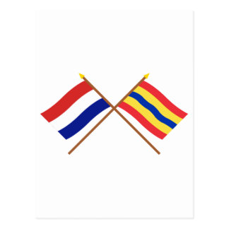 Crossed flags of Holland and Overijssel Postcard