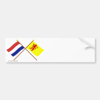 Crossed flags of Holland and Zuid-Holland Bumper Sticker