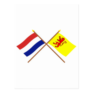 Crossed flags of Holland and Zuid-Holland Postcard