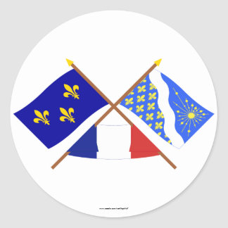 Crossed flags of Île-de-France and Essonne Classic Round Sticker