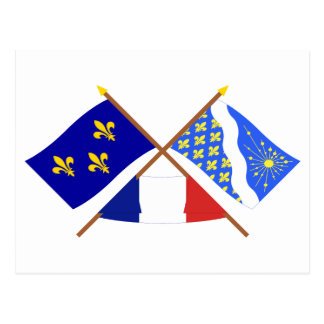 Crossed flags of Île-de-France and Essonne Postcard