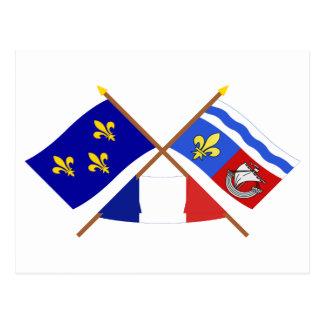 Crossed flags of Île-de-France and Hauts-de-Seine Postcard