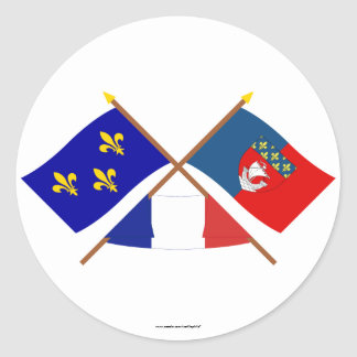Crossed flags of Île-de-France and Paris Classic Round Sticker