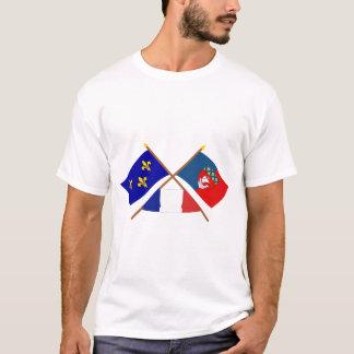 Crossed flags of Île-de-France and Paris T-Shirt