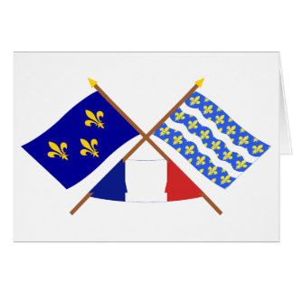 Crossed flags of Île-de-France and Seine-et-Marne Card