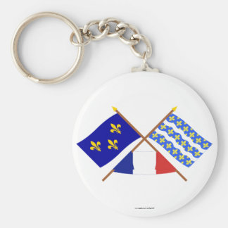 Crossed flags of Île-de-France and Seine-et-Marne Basic Round Button Keychain