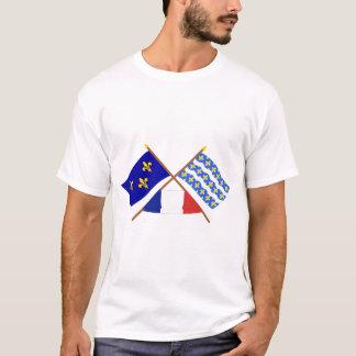 Crossed flags of Île-de-France and Seine-et-Marne T-Shirt
