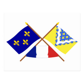 Crossed flags of Île-de-France and Val-de-Marne Postcard
