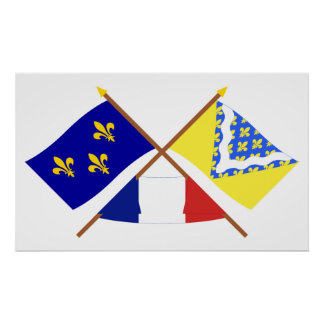 Crossed flags of Île-de-France and Val-de-Marne Poster