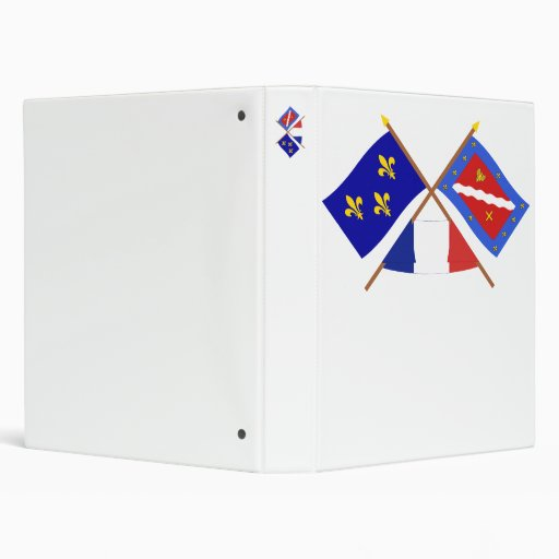 Crossed flags of Île-de-France and Val-d'Oise Vinyl Binder