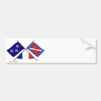 Crossed flags of Île-de-France and Val-d'Oise Bumper Sticker