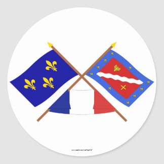 Crossed flags of Île-de-France and Val-d'Oise Classic Round Sticker