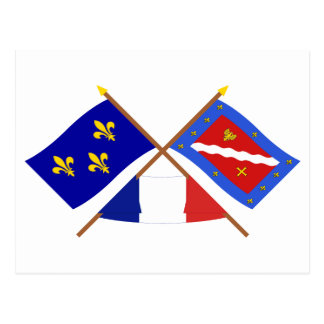 Crossed flags of Île-de-France and Val-d'Oise Postcard