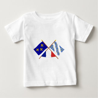 Crossed flags of Île-de-France and Yvelines Baby T-Shirt