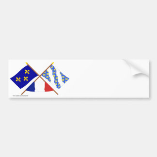 Crossed flags of Île-de-France and Yvelines Bumper Sticker