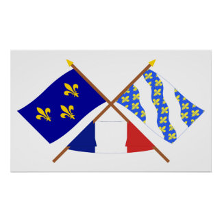 Crossed flags of Île-de-France and Yvelines Poster