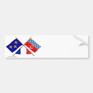 Crossed flags of Île-de-France & Seine-Saint-Denis Bumper Sticker
