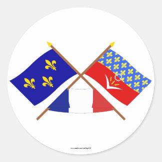 Crossed flags of Île-de-France & Seine-Saint-Denis Classic Round Sticker