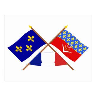 Crossed flags of Île-de-France & Seine-Saint-Denis Post Card
