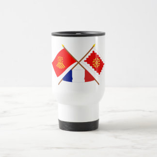 Crossed flags of Languedoc-Roussillon and Aude Travel Mug