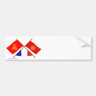 Crossed flags of Languedoc-Roussillon and Gard Car Bumper Sticker