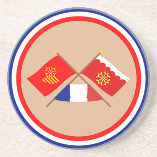 Crossed flags of Languedoc-Roussillon and Gard Coaster