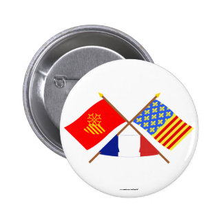 Crossed flags of Languedoc-Roussillon and Lozère Pinback Button