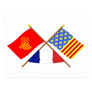 Crossed flags of Languedoc-Roussillon and Lozère Postcard