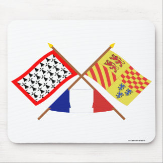 Crossed flags of Limousin and Corrèze Mouse Pad