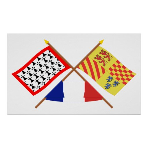 Crossed flags of Limousin and Corrèze Posters