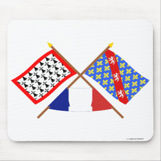 Crossed flags of Limousin and Creuse Mouse Pad