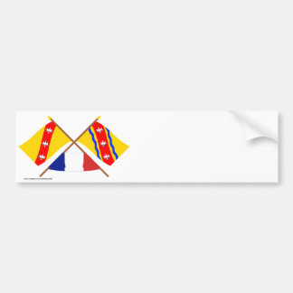 Crossed flags of Lorraine and Meurthe-et-Moselle Bumper Sticker