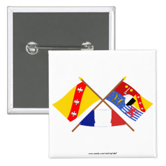 Crossed flags of Lorraine and Moselle Pinback Button