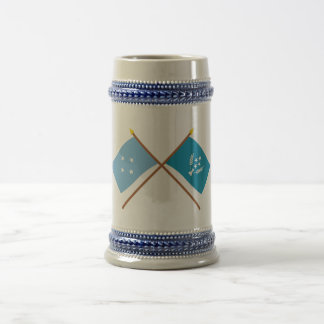 Crossed Flags of Micronesia and Kosrae 18 Oz Beer Stein