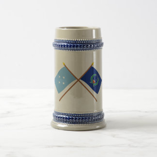 Crossed Flags of Micronesia and Pohnpei 18 Oz Beer Stein