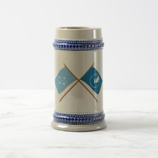 Crossed Flags of Micronesia and Yap 18 Oz Beer Stein