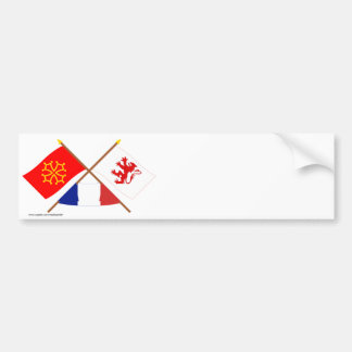 Crossed flags of Midi-Pyrénées and Gers Bumper Stickers