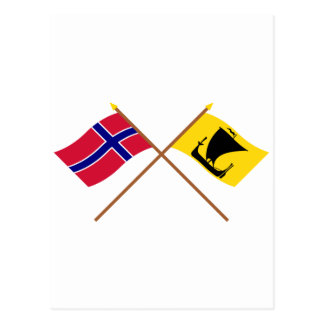 Crossed flags of Norway and Nordland Postcard