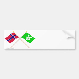 Crossed flags of Norway and Oppland Bumper Stickers